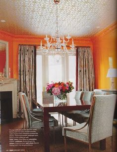beautiful ceiling and love the orange walls