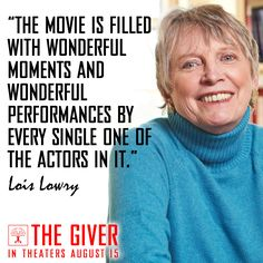 """""""The movie is filled with wonderful moments"""" -- Lois Lowry"""