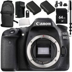 Canon EOS 80D DSLR Camera (Body Only) 10PC Accessory Bundle - Includes 64GB SD Memory Card + 2x Replacement Batteries + MORE (Certified Refurbished). This Certified Refurbished product is tested and certified to look and work like new. The refurbishing process includes functionality testing, basic cleaning, inspection, and repackaging. The product ships with all relevant accessories, a minimum 90-day warranty, and may arrive in a generic box. Only select sellers who maintain a high...