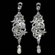 1920s Wedding Crystal Chandelier Earrings