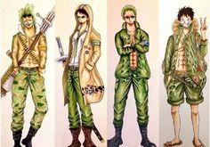 Bartolomeo, Trafalgar Law, Roronoa Zoro and Monkey D. Luffy in military clothes.