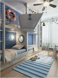 Fantastic Nautical Kids Room!  Would be perfect for brothers or grand kids!