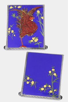 Brilliantly-hued enameling encases both sides of this sterling silver cigarette case. An incredibly detailed rooster and floral accents are executed in vibrant enamel. The piece is a marvelous example of the early 20th-century European fashion for Japonism ~ Fashion, Antique Cigarette case, Enamel case ~ M.S. Rau Antiques