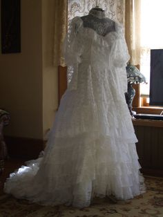 SOLD  Vintage 1980s Chantilly Lace Ruffled Wedding Gown by FoundnFancy