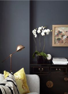 dark walls: Hague Blue Matt Emulsion from Farrow & Ball