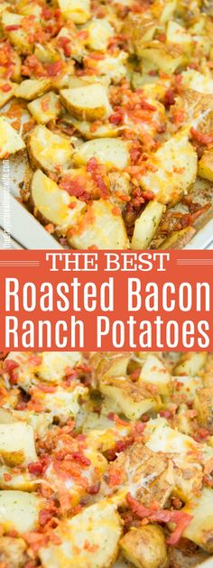 Potatoes, cheese, and bacon you can't go wrong here. These Roasted Bacon Ranch Potatoes are the ultimate comfort food and is the perfect side dish. Side Dishes For Bbq, Side Dish Recipes, Easy Dinner Recipes, New Recipes, Easy Meals, Cooking Recipes, Favorite Recipes, Dinner Ideas, Oven Cooking