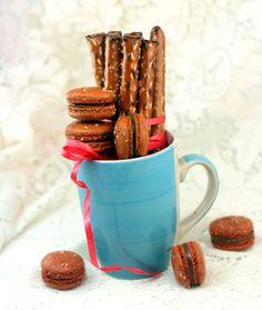 Salted Pretzel Macarons with Chocolate Ganache