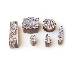 Assorted and Floral Hand Made Pattern Wood Block Print Stamps (Set of 6) #RoyalKraft #ArtDeco