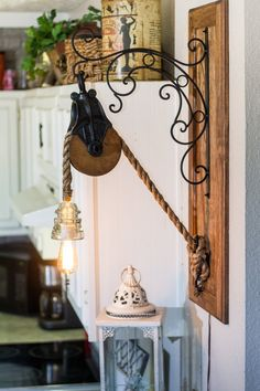 Barn Pulley Edison Rope Light with Glass Insulator on a Decorative Hook