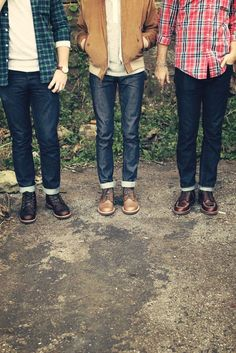 Cuffed jeans + brown leather shoes