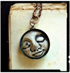 Tranquil Dreams Polymer Clay face pendant by kkennedydesigns