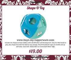 """Shape-O Toy  Easy Order Online: http://www.tupperware.com/shape-o-toy-4657-1.html  PRODUCT DETAILS As a rolling rattle, it has lots of open spaces for infants to grab. Toddlers can use the 10 pieces to match the shapes on the toy, allowing them to identify shapes and develop coordination and dexterity. Each piece also has a number on one side with the corresponding number of dots on the other to teach preschoolers number recognition and counting.  6½"""" Dia. (16.5 cm) Two handles are easy to…"""
