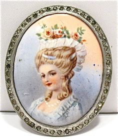 VINTAGE SILVER PORCELAIN PASTE PORTRAIT PIN BROOCH LARGE 40 X 50 MM