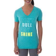 Danskin Now Women's Active Short Sleeve Graphic V-Neck T-Shirt, Size: Small, Blue