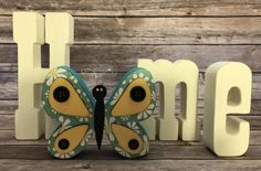 """Spring Butterfly - May Interchangeable """"O"""" Wood Decor by ScrapHappyPagesStore on Etsy"""