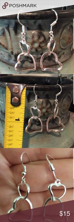 Double HEART Silver Plated Earrings Real cute & adorable hook earrings Jewelry Earrings