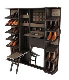 AD Collections, les pieces Philippe Nigro pour Hermès Coffre à chaussures, structure en ébène, façade en cuir.