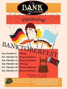 Its Oktoberfest in Hermann, Mo! Hermann Mo, Wine And Beer, Rehearsal Dinners, Bar, Free, Oktoberfest