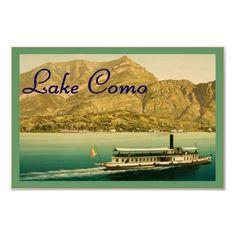Poster de viagens do vintage do ~ de Como do lago por VintageFactory