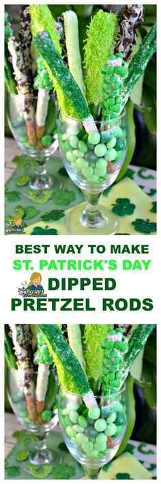 Patrick's Day Prezel Rods using white chocolate, green candy melts, assorted green candies like green mini M & M's, Andy's Baking Mints and sprinkles. Dipped Pretzel Rods, Chocolate Covered Pretzels, Dipped Pretzels, St Patricks Day Food, Saint Patricks, Green Candy, St Pats, St Paddys Day, Irish Recipes