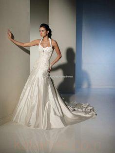 wedding dresses - Style Sophia Tolli Ornella Halter sweetheart neckline A-Line zipper Lace Crystal Appliques Ruffles www.kalianas.com