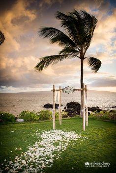 4-post bamboo Maui wedding arch at the Sugarman Estate / www.mikesidney.com