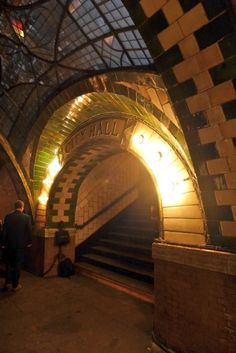 The old city hall subway station entryway. One of the ncredible new photos of the old City Hall Subway Station in FiDi, typically off-limits to most of us in New York City! If you're a member of the New York Transit Museum-- you can even get tickets to Old Buildings, Abandoned Buildings, Abandoned Places, Beautiful Ruins, Beautiful Buildings, S Bahn, Nyc Subway, City That Never Sleeps, Abandoned Mansions