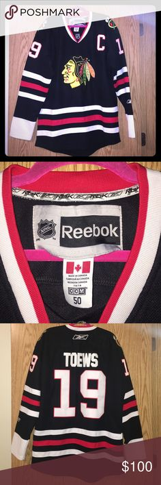 AUTHENTIC Reebok NHL Chicago Blackhawks jersey Reebok #19 Towes, black Chicago Blackhawks jersey. Worn only once. Bought brand new from NHL Pro Shop for $190 Reebok Jackets & Coats