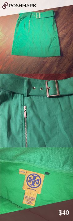Tory Burch kelly green buckle skirt LIKE NEW Kelly green skirt by Tory Burch! A bit wrinkled, just needs to be ironed. One black mark by tag, but does not show through to the outside. Belt included. Cute silver zipper detail. Size 2, fits true to size. VERY high quality!! Tory Burch Skirts Mini