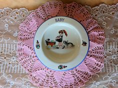 Vintage Slovakia Baby Bowl Girl Pushing Buggy with Cat eb