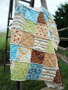 Baby boy Rag Quilt Crib Blanket for nursery by littlebucksanddoes, $114.00