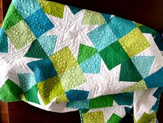 colors - lime green bright blue with stars