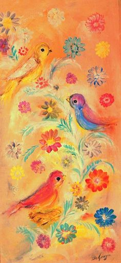 Ted DeGrazia's Birds singing in a sun drenched Arizona background.