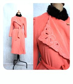 CORAL WOOLEN JACKET Black Fur Collar 1940s 50s Embroidered Mink Pelt Persimmon Pink Peacock satin lining pinup rockabilly Medium Diana by LibertyCrush on Etsy