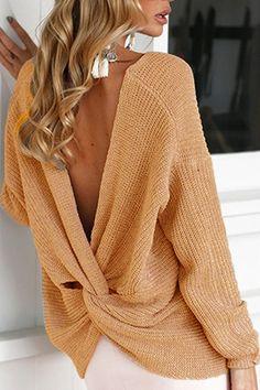 Brown Crossed Front Design V-neck Long Sleeves Reversible Sweater