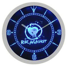 Rise Against Punk Hardcore Rock Music Neon Sign Bar Wall Clock
