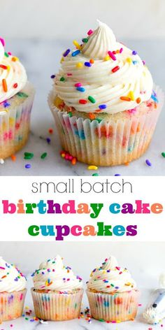 Birthday cupcakes with sprinkles--a small batch cupcake recipes for birthday cupcakes for celebrating a kids birthday party, or gifting a friend or coworker on their special day! This recipe for 4 cupcakes will come in handy! Small Batch Cupcakes, Fun Cupcakes, Fluffy Cupcakes, Confetti Cupcakes, Sprinkle Cupcakes, Baking Cupcakes, Decoration Cupcakes, Vanilla Cupcakes, Rainbow Cupcakes