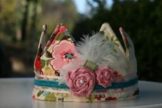 Gotta have, but what to do with?    Vintage Chic Fabric Crown Princess Birthday Hat by BellasBunting, $42.00