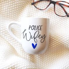 Police Wife Coffee Mug or wine glass Police Girlfriend, Police Officer Wife, Cop Wife, Police Wife Life, Gifts For Wife, Mother Day Gifts, Police Crafts, Police Love, Blue Line