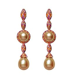 de GRISOGONO Melody of Colours earrings in pink gold, set with pearls, brown diamonds, rubies, yellow sapphires, orange sapphires and pink sapphires.