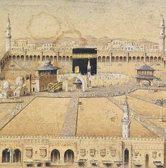Old Drawing of Masjid al-Haram (Makkah, Saudi Arabia) Mecca Madinah, Mecca Masjid, Masjid Al Haram, Islamic World, Islamic Art, Islamic Posters, Prophets In Islam, Baye Fall, Mekkah