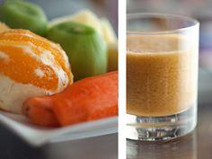 Zumo de kiwi, zanahoria, naranja y manzana.