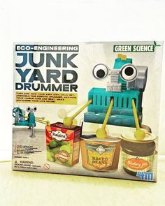 Transform random junk into your very own drum set for a music show. Build your own jammin' drummer from objects around your home. Repurpose empty food jars, cans, and other items to create unique sounds.