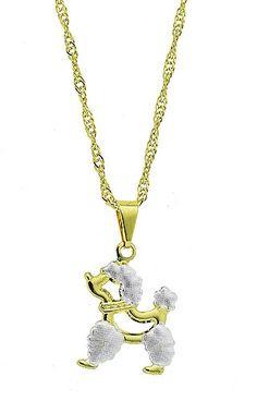 Gargantilha folheada a ouro e pingente em forma de Poodle c/ aplique de prata