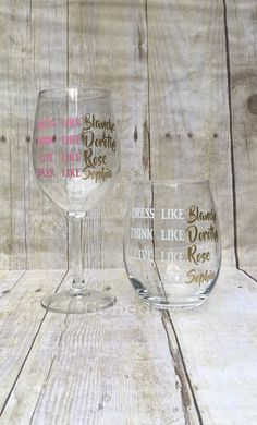 Golden Girls Wine Glass | Dress Like Blanche Think Like Dorothy | Gifts for Friends | Retirement Gift | Wine Lovers | Birthday Gift by GoHedgy on Etsy