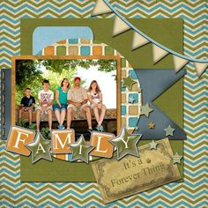 """Scrapbook Page Layout made with the """"Vintage Guy"""" Mega Kit"""