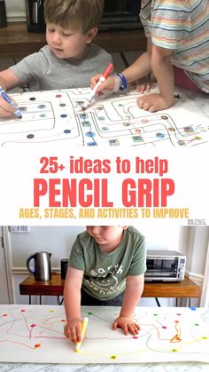 Sometimes improving pencil grip happens when you take away the letter formations. Try these fun ways to strengthen small hand muscles and practice fine motor skills. This post gives a great overview of the different stages children will progress through. Fine Motor Activities For Kids, Motor Skills Activities, Preschool Learning Activities, Preschool Writing, Kids Learning, Kids Motor, Handwriting Activities, Toddler Fine Motor Activities, Preschool Fine Motor Skills