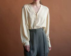 pale yellow silk oversized blouse / button by persephonevintage