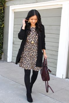 511dedaab44 How to Wear a Dress in Different Seasons  Black Floral Dress Black Cardigan  Tights and