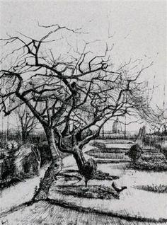 Parsonage Garden - Vincent van Gogh, ink, 1884